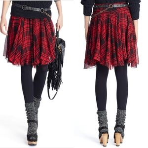 NWOT Ralph Lauren Red Plaid Handkerchief Skirt 10